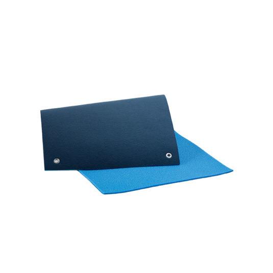 natte gym cofort double couleur bleu oeillets pour rangement facile